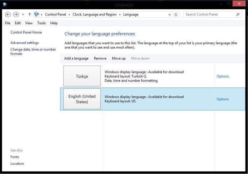 Windows 8 - 8.1 Dil Değiştirme